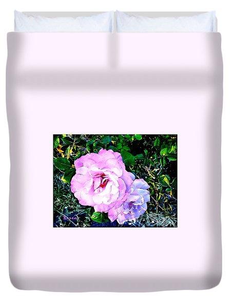 Pink - White Roses  2 Duvet Cover
