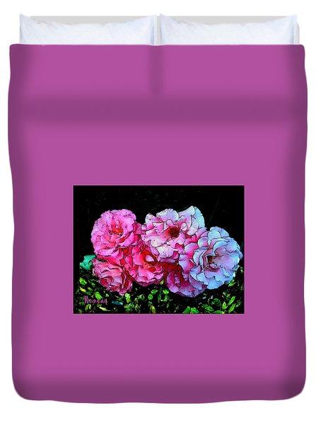 Pink - White Roses  Duvet Cover