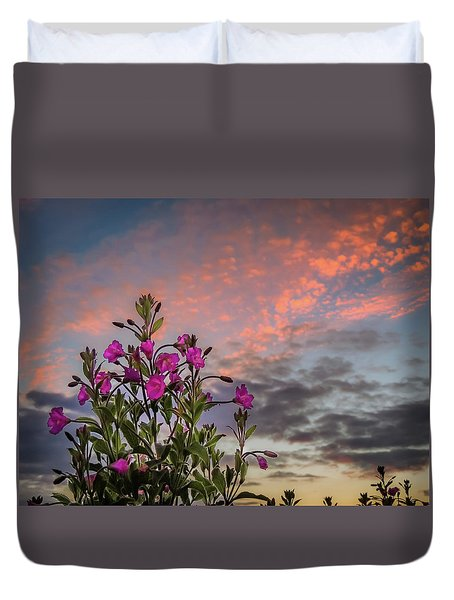 Duvet Cover featuring the photograph Pink Wildflowers At Sunset by James Truett