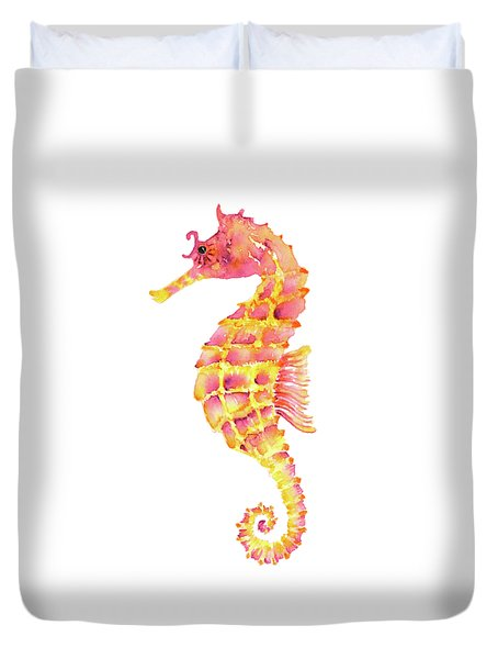 Pink Yellow Seahorse - Square Duvet Cover by Amy Kirkpatrick