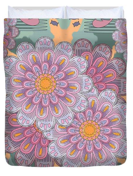 Pink Zinnia Mandala Duvet Cover