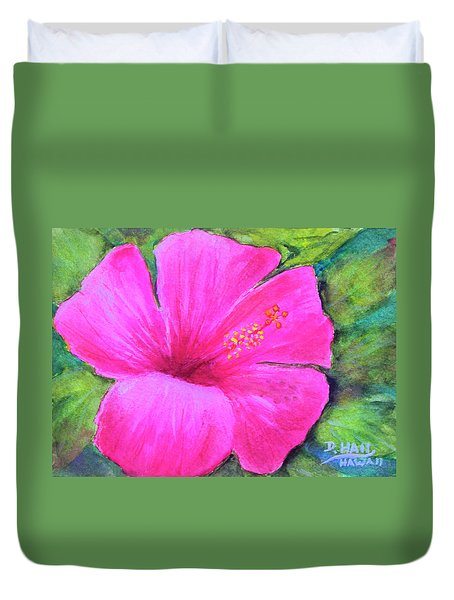 Pinkhawaii Hibiscus #505 Duvet Cover by Donald k Hall