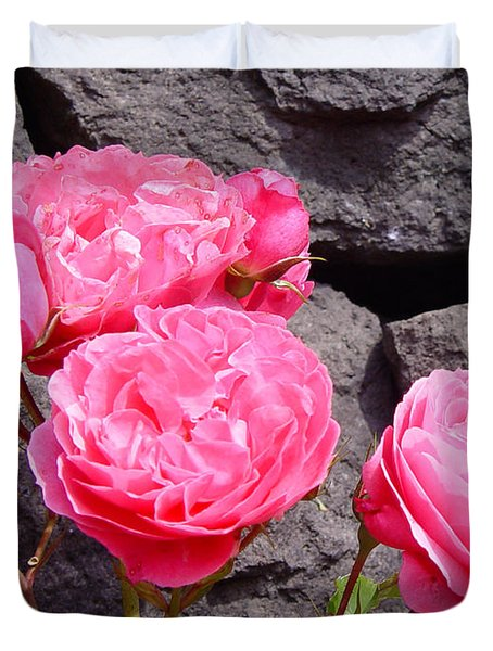 Pinks On The Rocks Duvet Cover