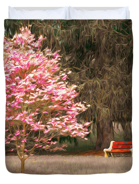 Pinky And The Bench - Impressionism Duvet Cover