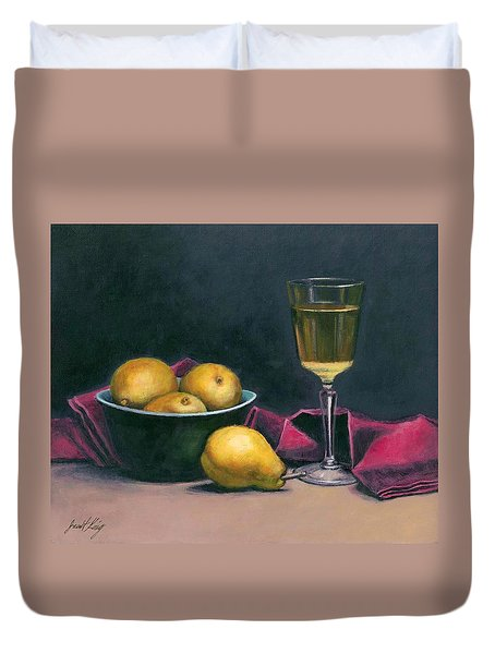 Duvet Cover featuring the painting Pinot And Pears Still Life by Janet King