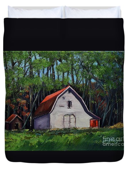 Duvet Cover featuring the painting Pinson Barn At Harrison Park by Jan Dappen