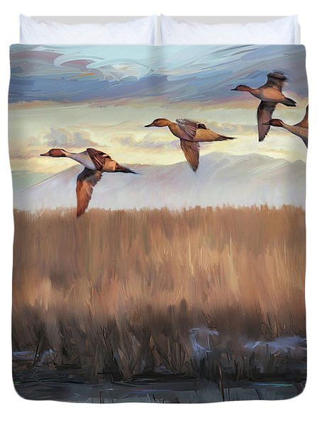 Pintail Fly By Duvet Cover by Rob Corsetti