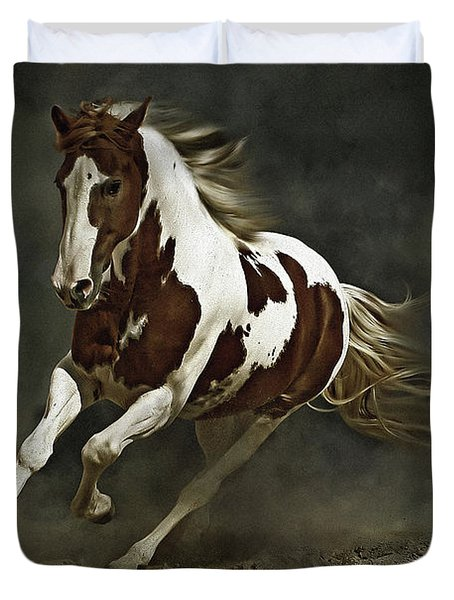 Pinto Horse In Motion Duvet Cover