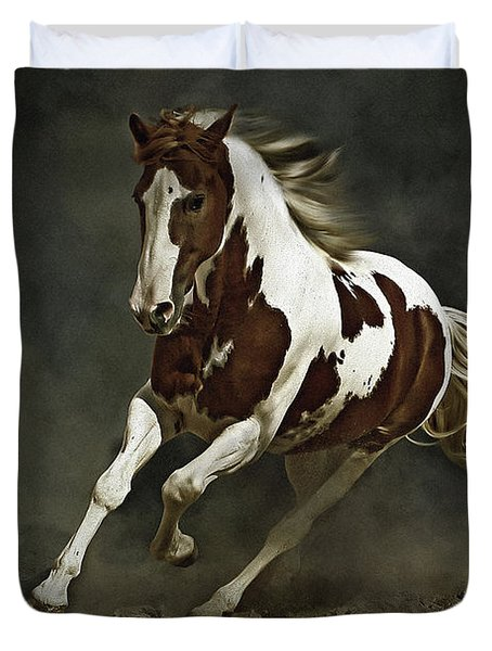 Pinto Horse In Motion Duvet Cover