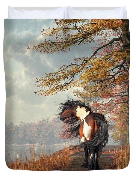Pinto Horse On A Riverside Trail Duvet Cover by Daniel Eskridge