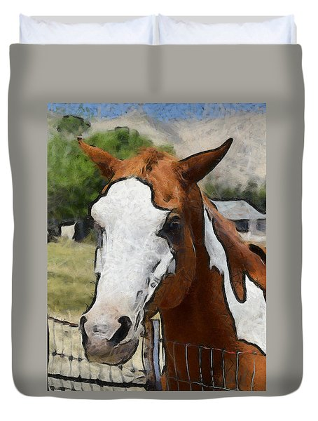 Duvet Cover featuring the photograph Pinto In The Pasture Portrait  by Barbara Snyder
