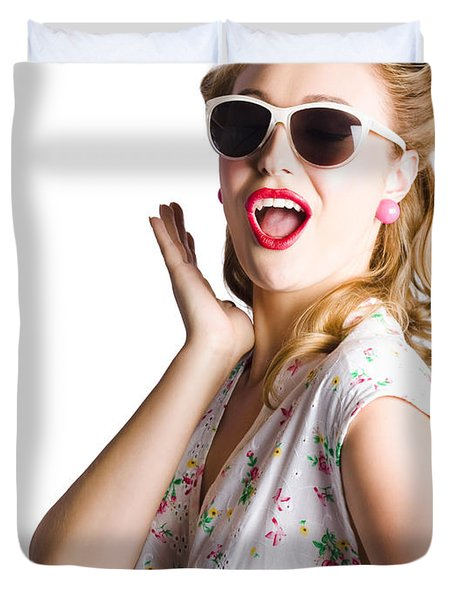 Pinup Shouting Out Loud Duvet Cover