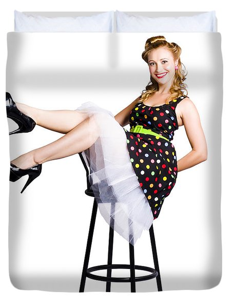 Pinup Woman On Bar Stool Duvet Cover