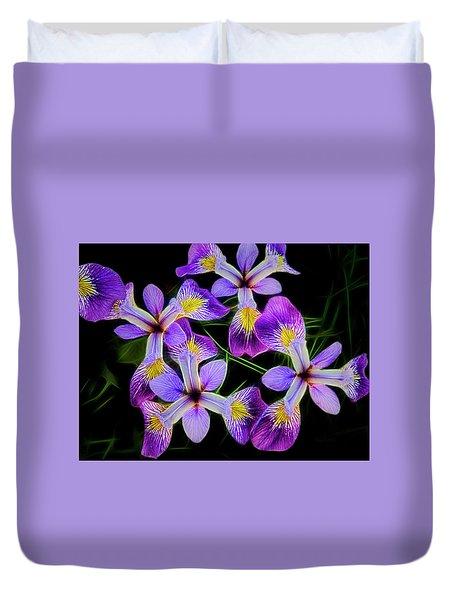 Pinwheel Purple Iris Glow Duvet Cover