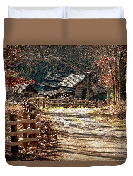 Duvet Cover featuring the photograph Pioneer Farm by Brenda Bostic