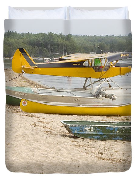 Piper Super Cub Floatplane Near Pond In Maine Canvas Poster Print Duvet Cover by Keith Webber Jr