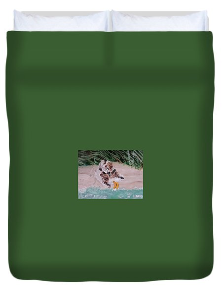 Piping Plover Chick 2 Duvet Cover
