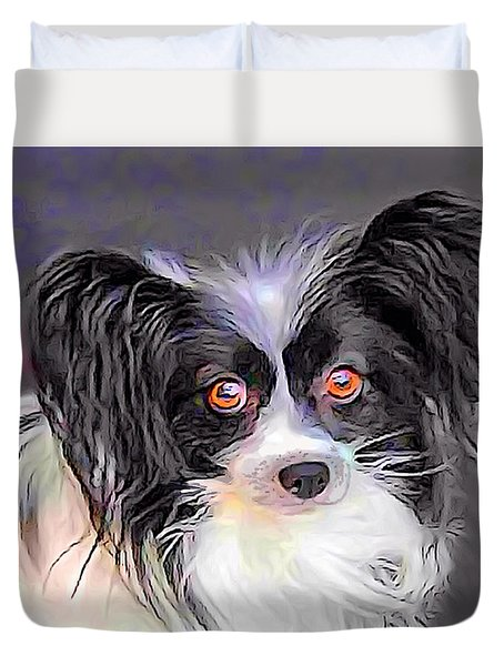 Duvet Cover featuring the digital art Pippin The Papillon by Kathy Kelly