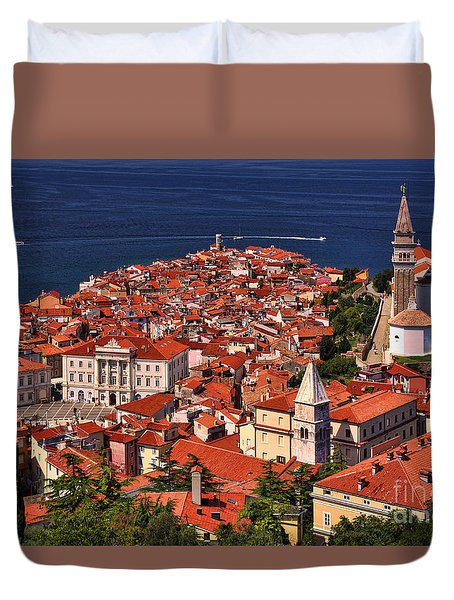 Piran From The Castle Wall Duvet Cover by Graham Hawcroft pixsellpix