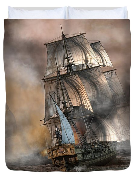Duvet Cover featuring the digital art Pirate Battle by Daniel Eskridge