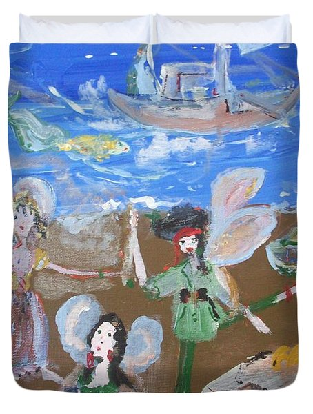 Duvet Cover featuring the painting Pirate Fairies by Judith Desrosiers