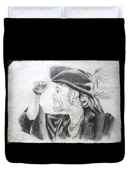 Pirate Mikey Portrait Drawing Duvet Cover by Shelley Overton