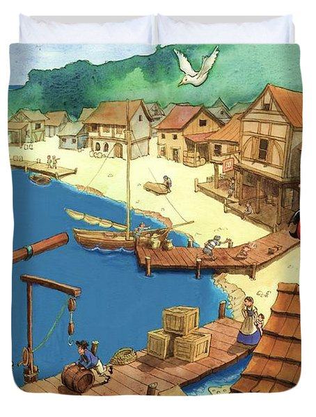 Pirate Port Duvet Cover