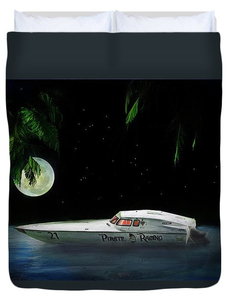 Duvet Cover featuring the painting Pirate Racing by Michael Cleere