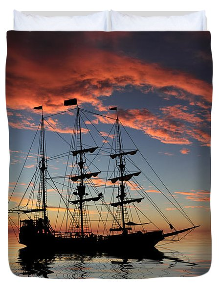 Pirate Ship At Sunset Duvet Cover