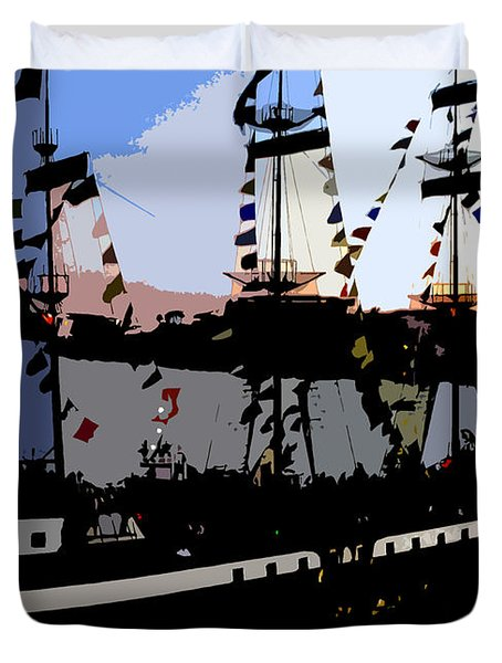 Pirate Ship Duvet Cover by David Lee Thompson