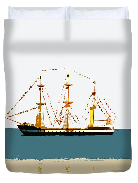 Pirate Ship On The Horizon Duvet Cover by David Lee Thompson