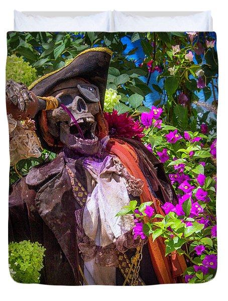 Pirate Skeleton Drinking Duvet Cover