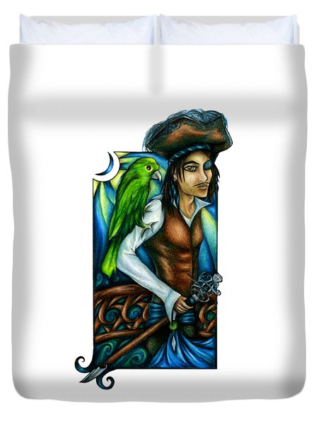 Pirate With Parrot Art Duvet Cover