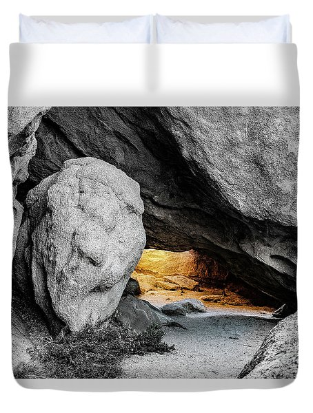 Pirate's Cave, Black And White And Gold Duvet Cover