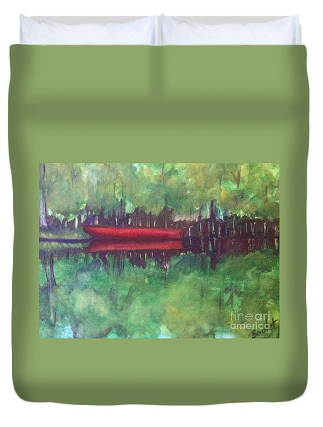 Pirogue On Bayou Lafourche Duvet Cover
