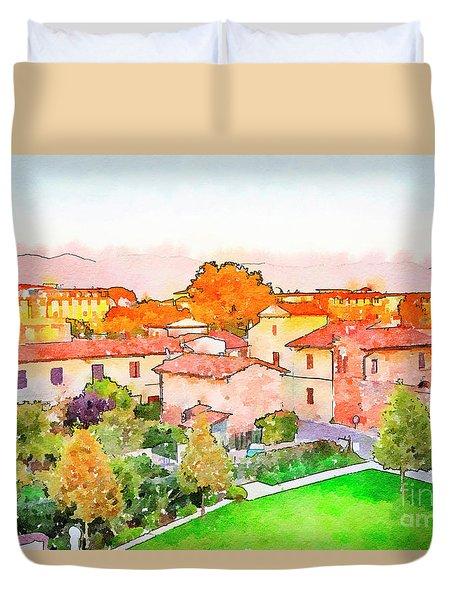 Pisa In Watercolor Style Duvet Cover