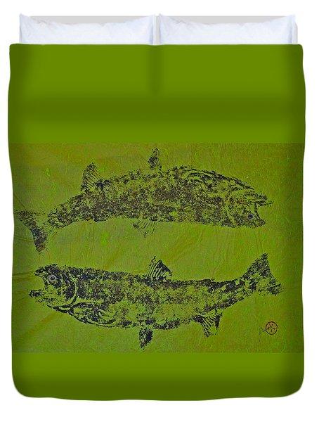 Pisces Rising  Steelhead Salmon Duvet Cover