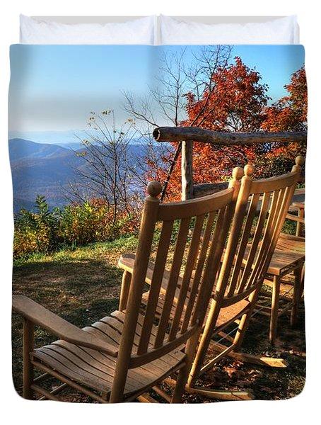 Pisgah Inn's Rocking Chairs Duvet Cover