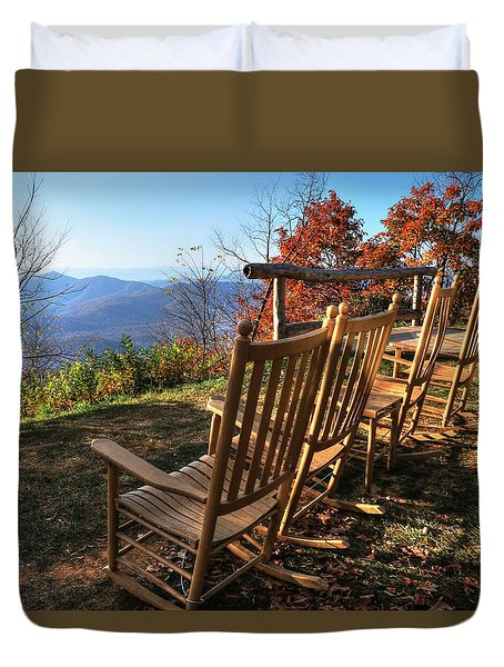 Pisgah Inn's Rocking Chairs Duvet Cover