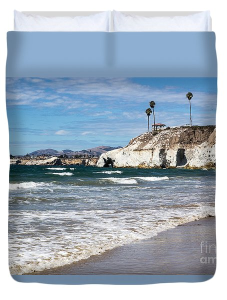 Duvet Cover featuring the photograph Pismo Beach Caves by Suzanne Luft
