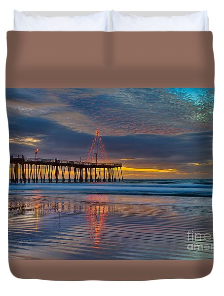 Pismo Beach Christmas Duvet Cover
