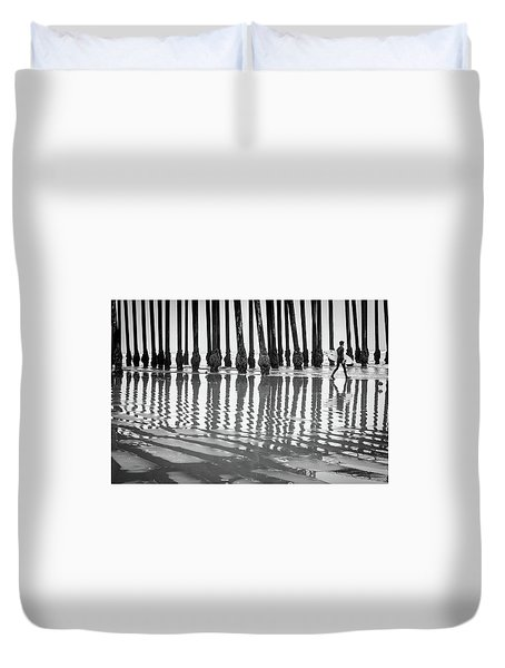 Pismo Beach Surfer Duvet Cover