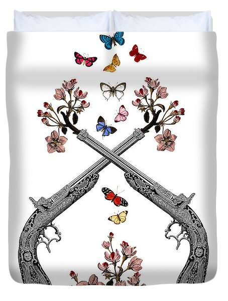 Pistols Wit Flowers And Butterflies Duvet Cover