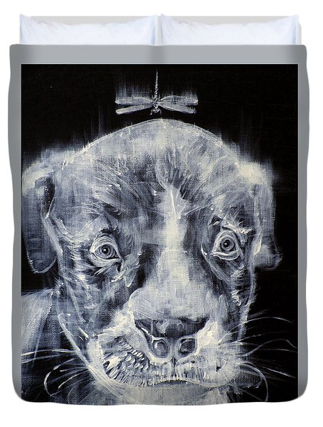 Pit Bull Cub And Dragonfly Duvet Cover by Fabrizio Cassetta