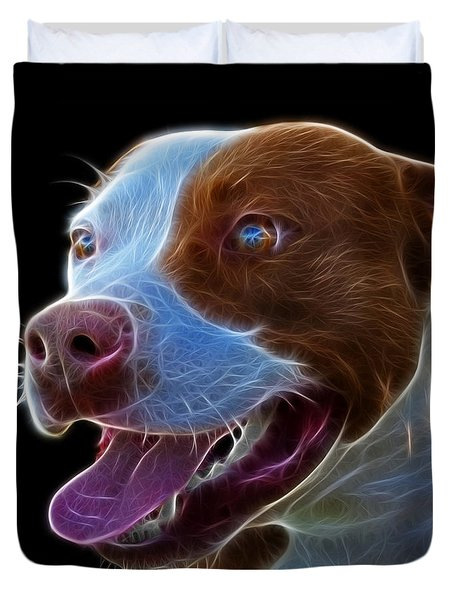 Pit Bull Fractal Pop Art - 7773 - F - Bb Duvet Cover by James Ahn