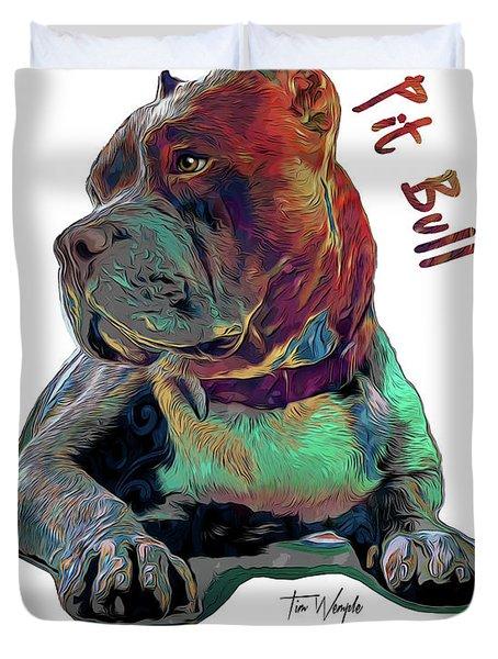 Pit Bull Pop Art Duvet Cover