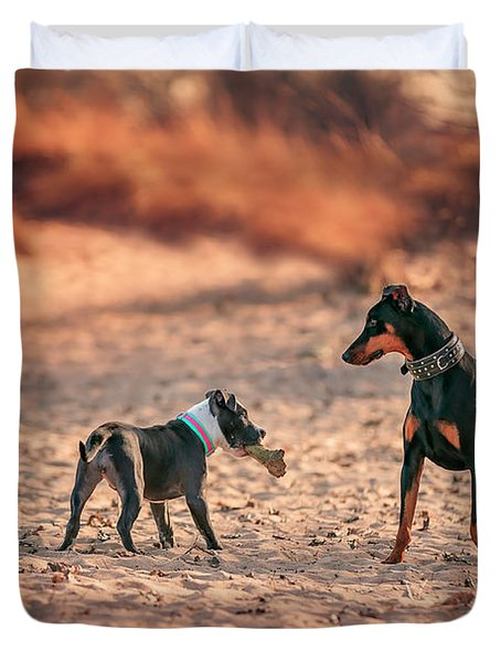 Pitbull And Doberman Duvet Cover