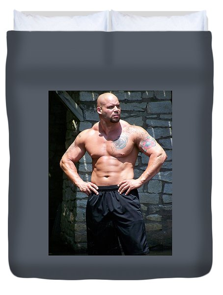 Duvet Cover featuring the photograph Pitbull by Jake Hartz