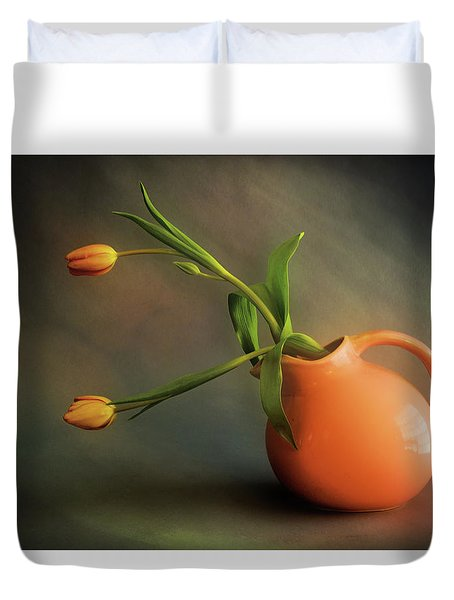 Pitcher Of Blooms Duvet Cover