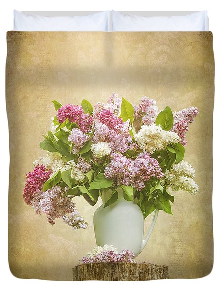 Pitcher Of Lilacs Duvet Cover by Patti Deters